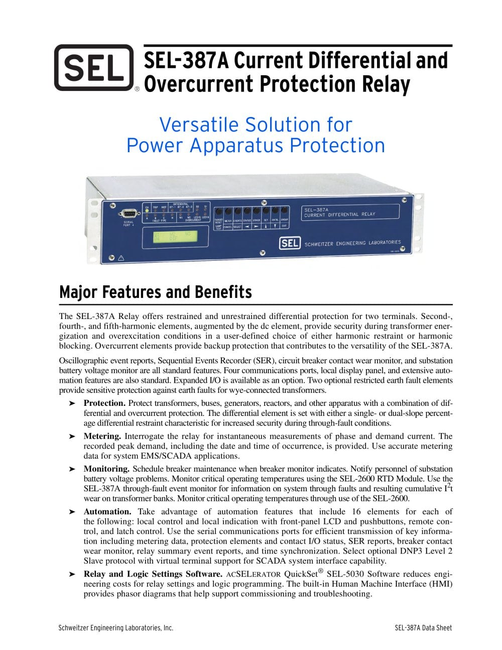 Sel 387a Current Differential And Overcurrent Protection Relay Circuit Breaker Ppt 1 16 Pages