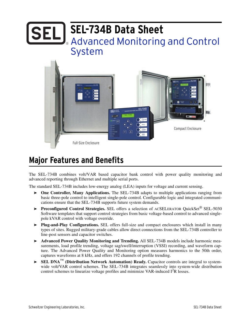 Sel 734b Advanced Monitoring And Control System Schweitzer Circuit Breaker Integral Temperature For Advance Detection 1 12 Pages