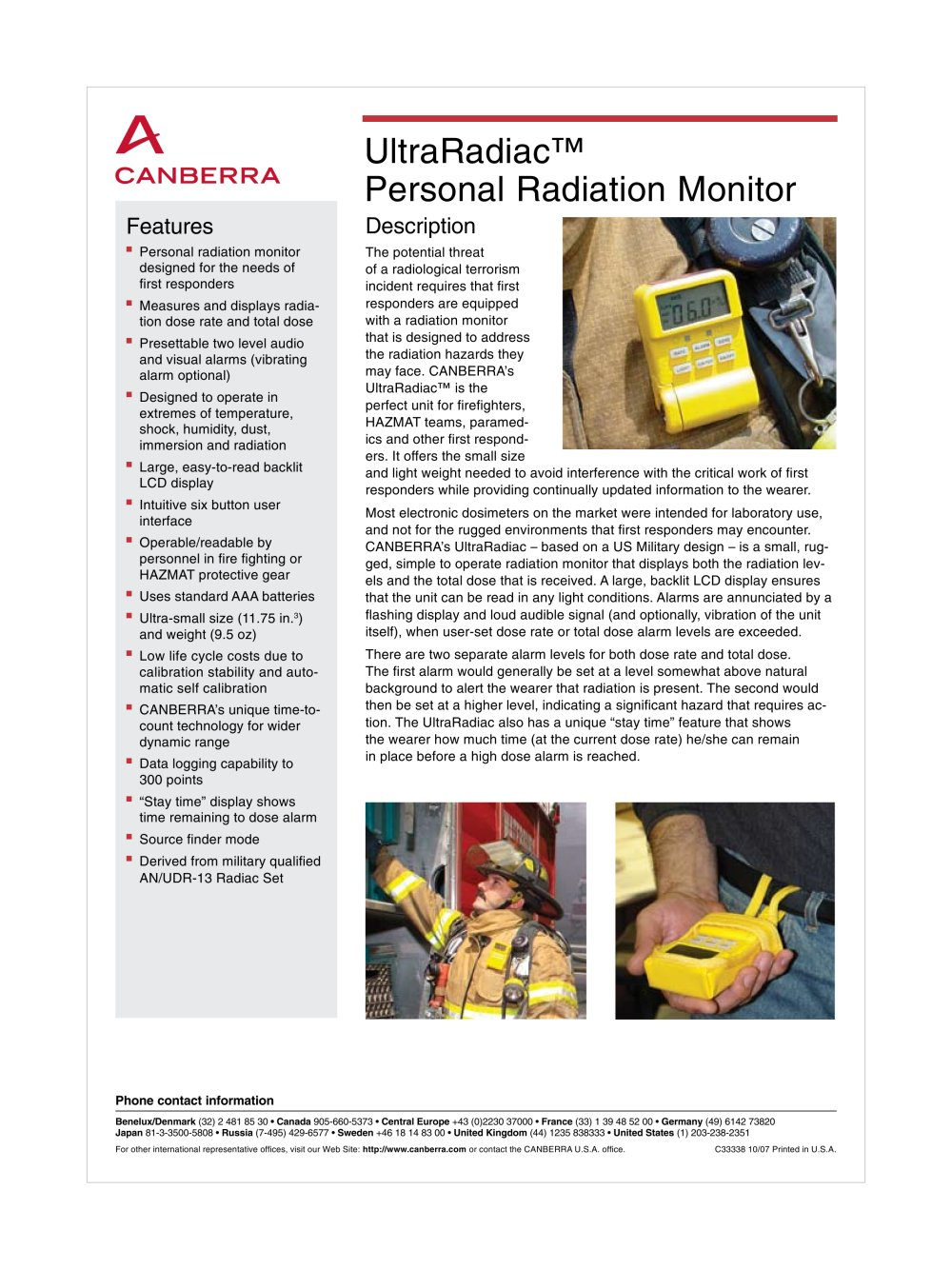digital dosimeter UltraRadiac™ Personal Radiation Monitor - 1 / 4 Pages
