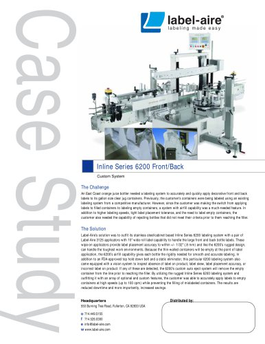 Inline Series 6200 Front/Back Labeling System