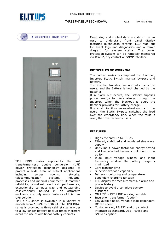 THREE PHASE UPS - ELIT - PDF Catalogue | Technical Documentation ...