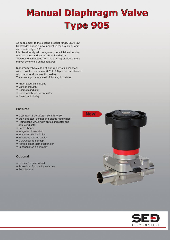The new diaphragm valve type 905 sed flowcontrol pdf catalogue the new diaphragm valve type 905 1 2 pages ccuart Choice Image