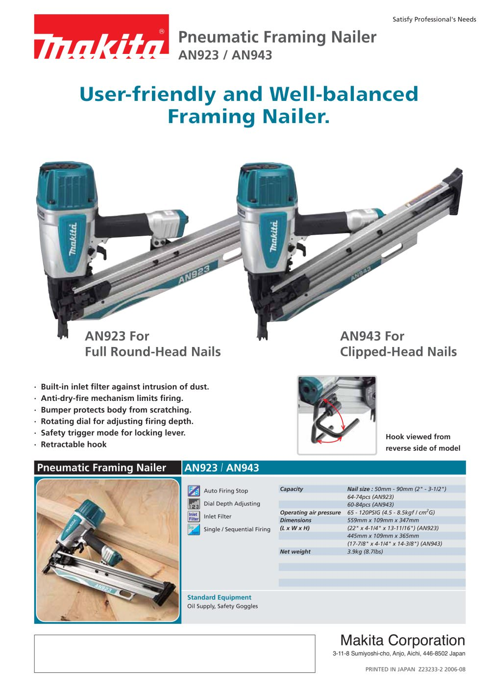 Pneumatic Framing Nailer - MAKITA - PDF Catalogue | Technical ...