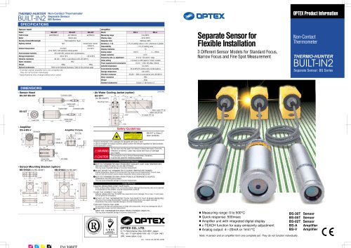 Built-in 2 BS Series BS-02TABS-02TV - OPTEX Measurement Division