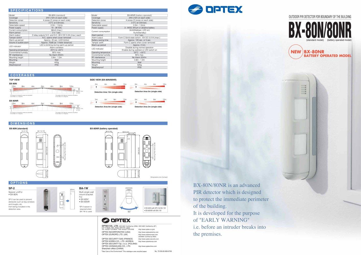 SL-350QFR/350QNR - OPTEX SEC Division - PDF Catalogs | Technical