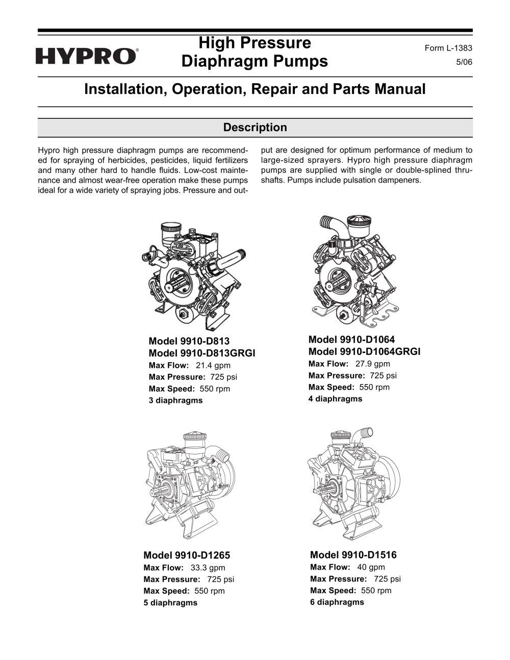 High pressure diaphragm pump oipm hypro pressure cleaning pdf high pressure diaphragm pump oipm 1 24 pages ccuart Choice Image