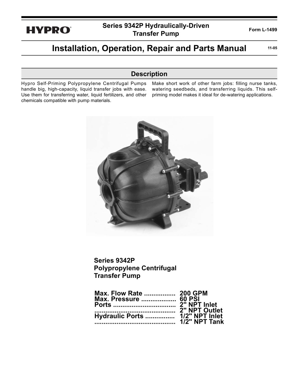 Series 9342P Hydraulic Driven Poly Transfer Pump Operation, Installation & Parts  Manual - 1 / 12 Pages