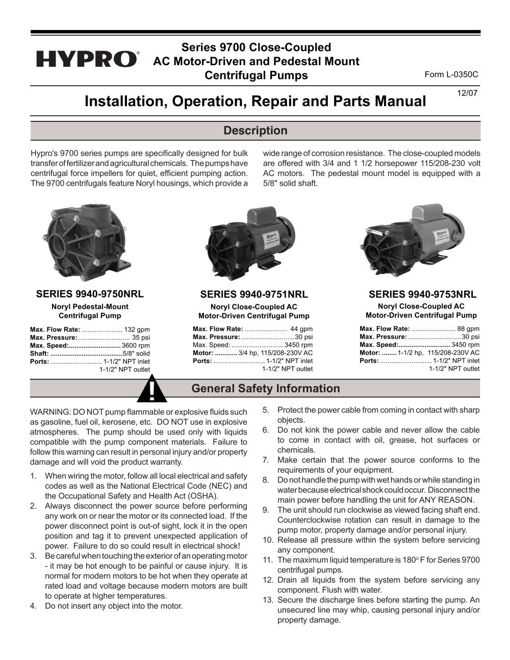 Series 9700 Close-Coupled Electric Driven Pumps Operation ...