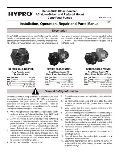 Series 9700 Close-Coupled Electric Driven Pumps Operation, Installation & Parts Manual