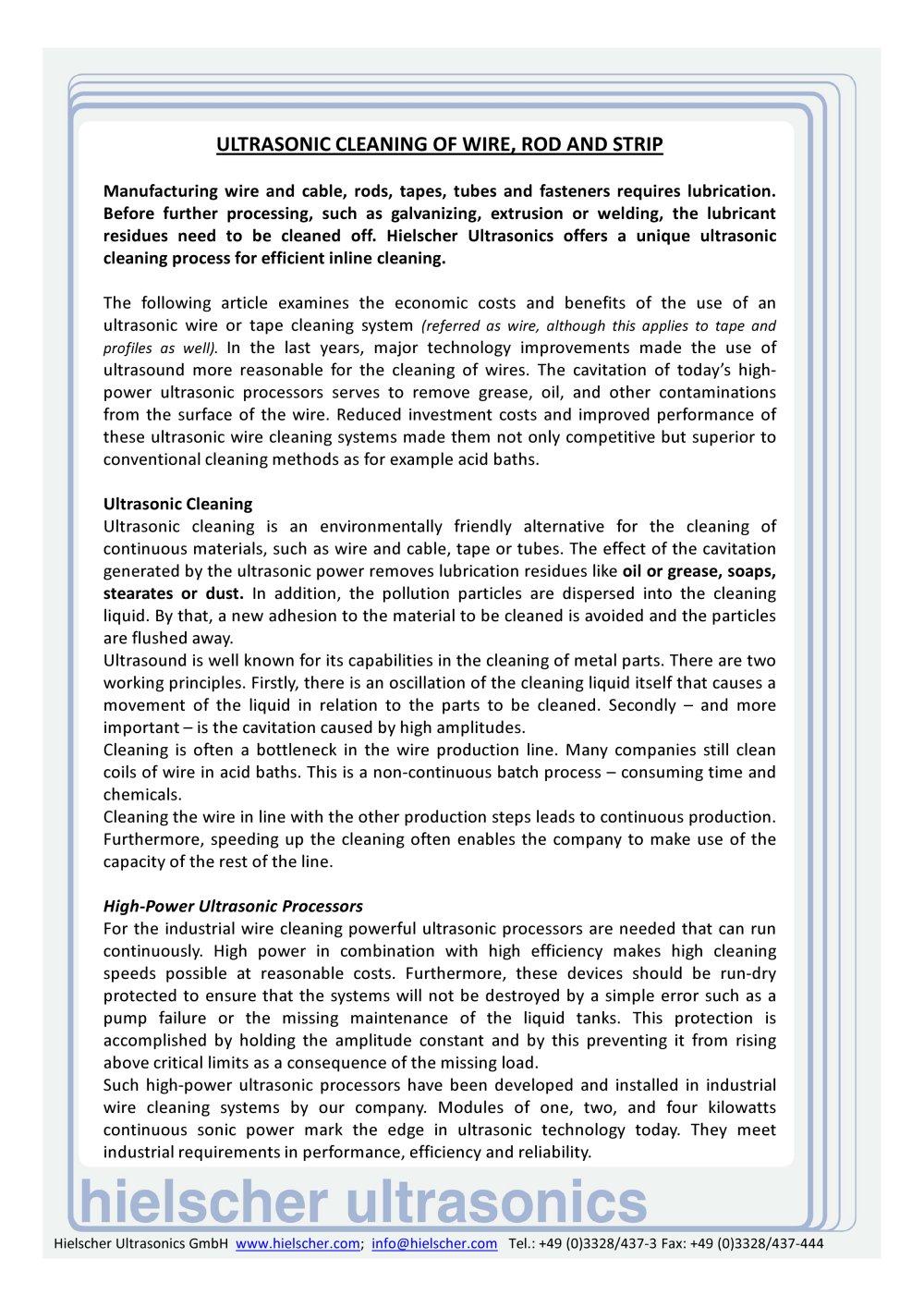 Ultrasonic Wire Cleaning - Hielscher Ultrasonics - Hielscher - PDF ...