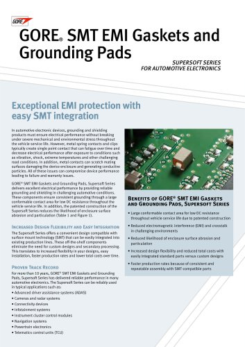 SMT EMI Gaskets and Grounding Pads - GORE electronics - PDF Catalogs