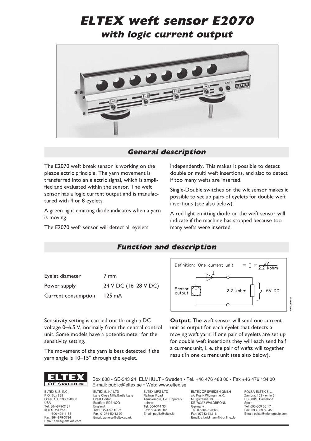 Weft Sensor E2071 Eltex Pdf Catalogue Technical Documentation Current Detector Circuit 1 2 Pages