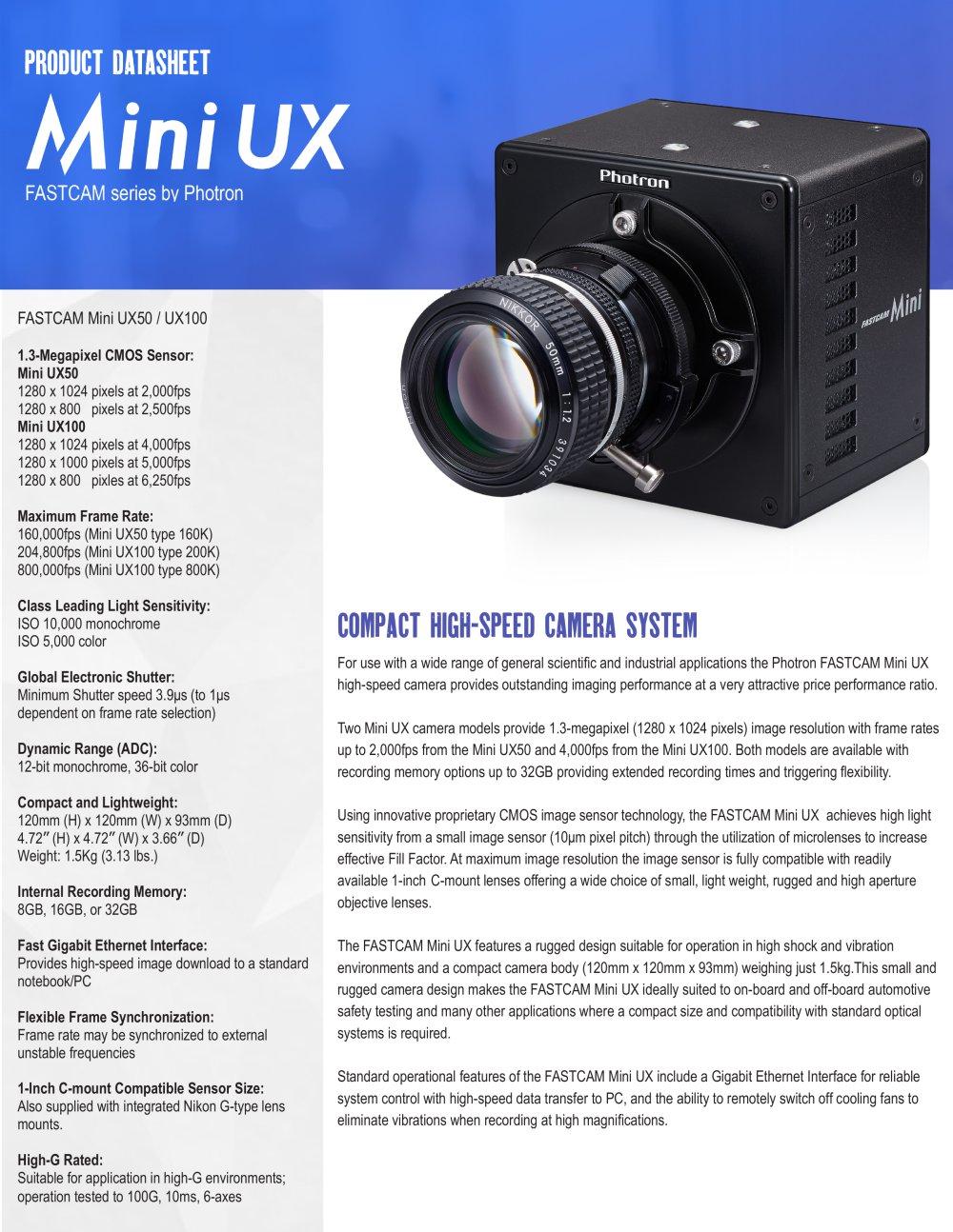FASTCAM Mini UX Series - Photron - PDF Catalogue | Technical ...
