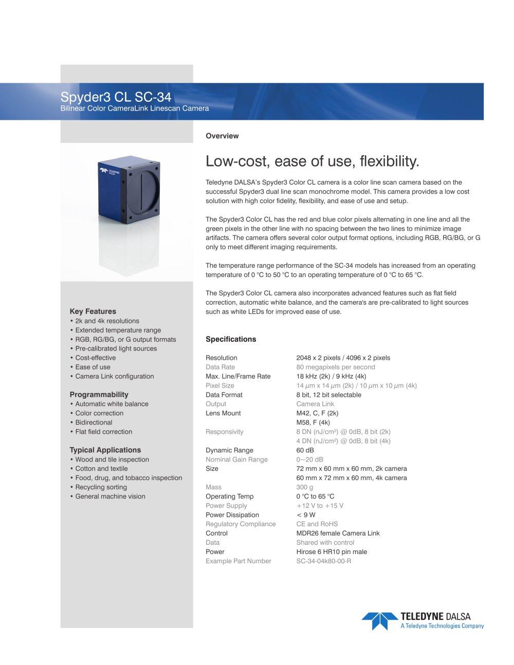 Spyder3 Color CL - Teledyne DALSA - PDF Catalogue | Technical ...