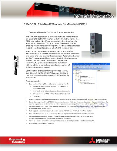 EIP4CCPU EtherNet/IP Scanner Brochure - MITSUBISHI ELECTRIC