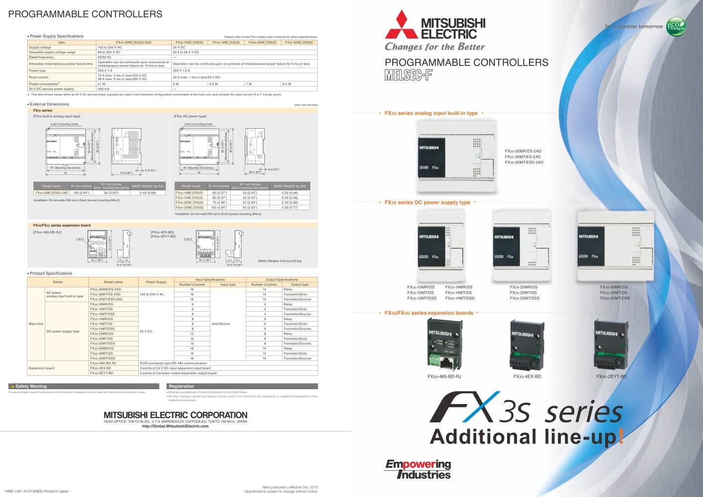 FX3S Additional Products Brochure - 1 / 2 Pages