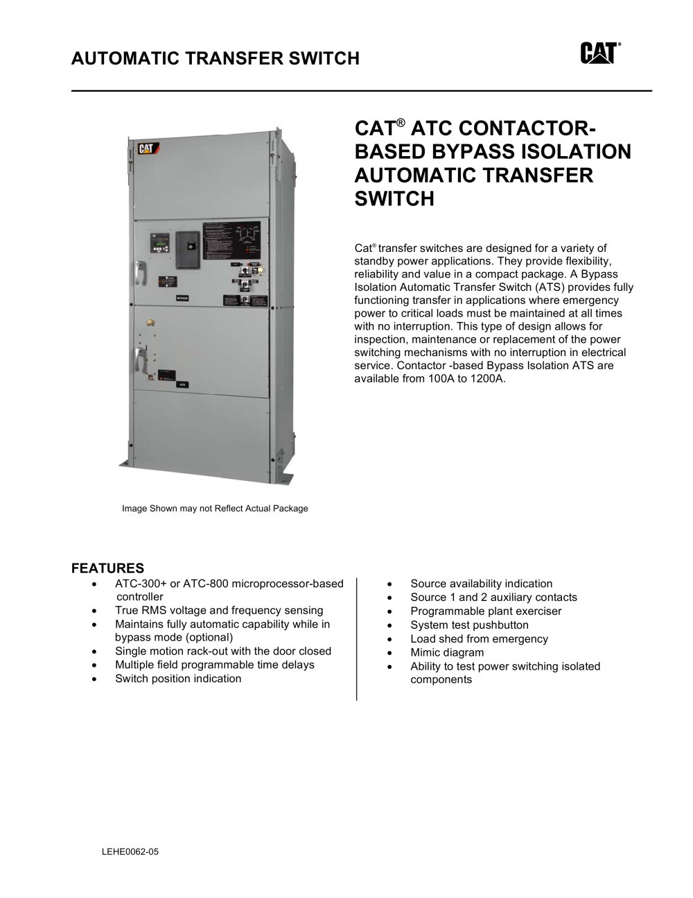 Atc Contactor Based Bypass Isolation Transfer Switch Caterpillar Description Wiring Diagram Of Automatic For Dummies 1 5 Pages