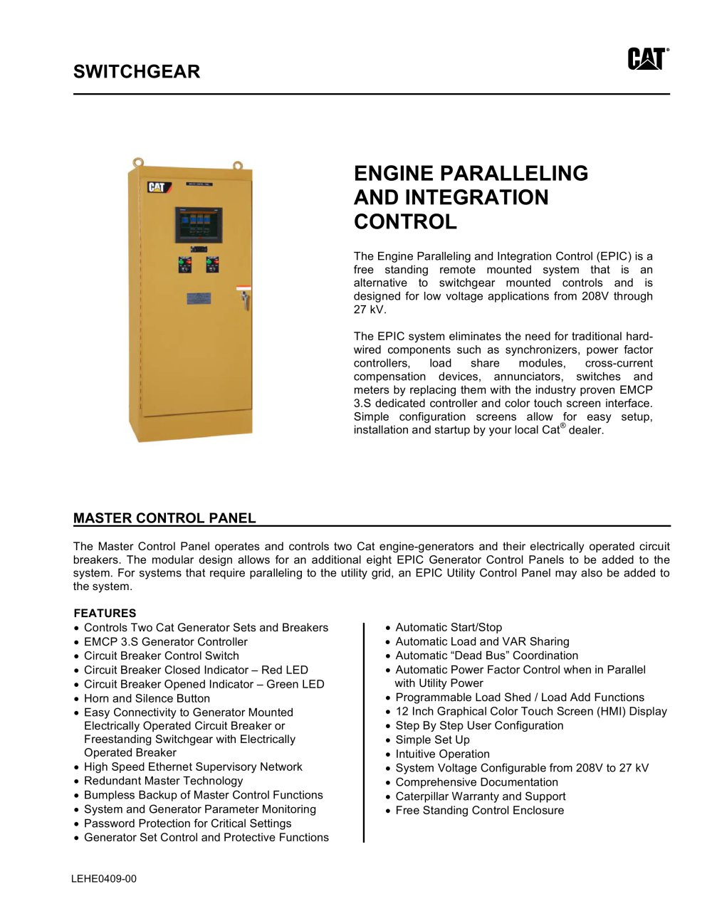 epic engine paralleling and integration control caterpillarepic engine paralleling and integration control 1 4 pages