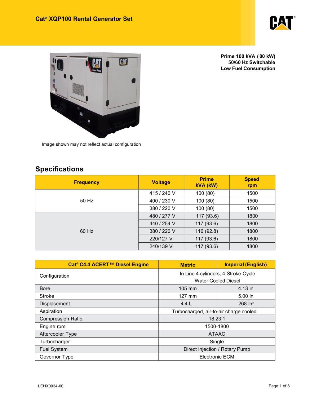 XQP100 Rental Generator Set (Low Fuel Consumption) - 1 / 8 Pages