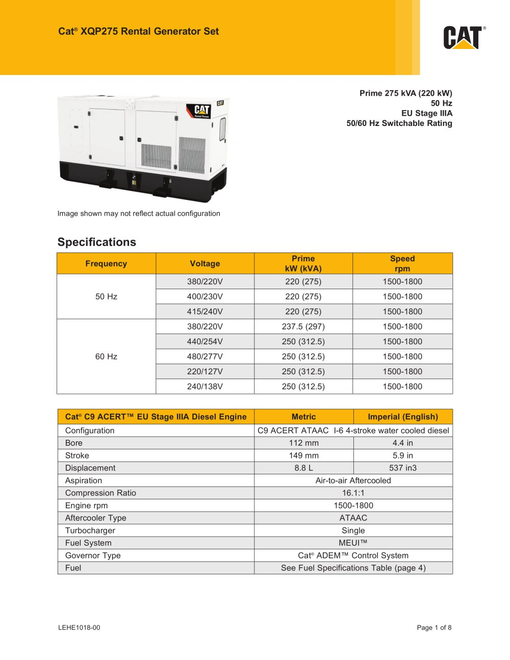 Xqp275 Rental Generator Caterpillar Electric Power Pdf Catalogs Engine Molded Case Circuit Breaker Mccb Line 1 8 Pages