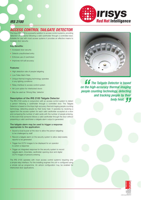 IPU 40081 - IRS 2100 (Tailgate Detector) Data Sheet - 1 / 2 Pages  sc 1 st  Catalogues Directindustry & IPU 40081 - IRS 2100 (Tailgate Detector) Data Sheet - IRISYS ...