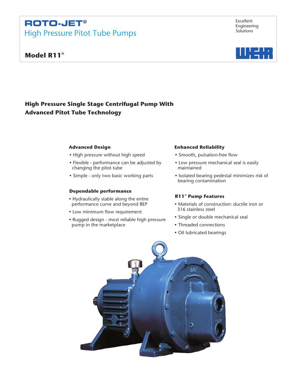 roto jet model r11 weir power industrial pdf catalogue rh pdf directindustry com Roto-Jet High Pressure Pump Roto Jet Pump Curves