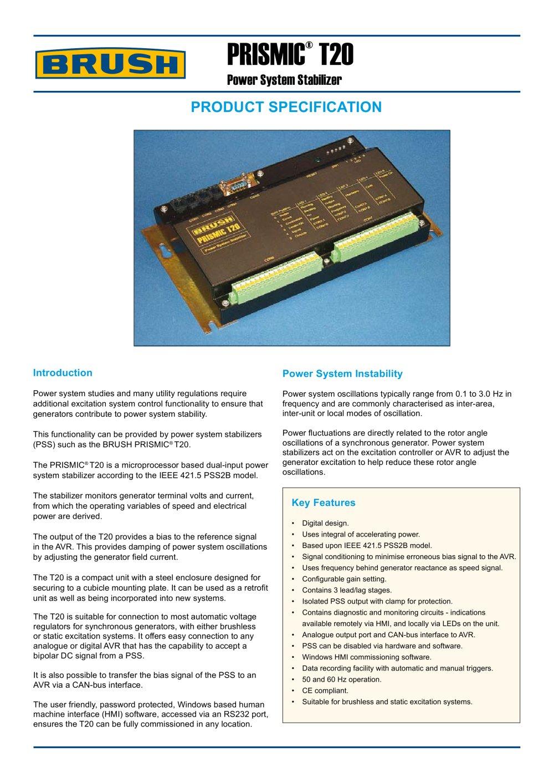 prismic t20 power system stabilizer brush group pdf catalogue rh pdf directindustry com