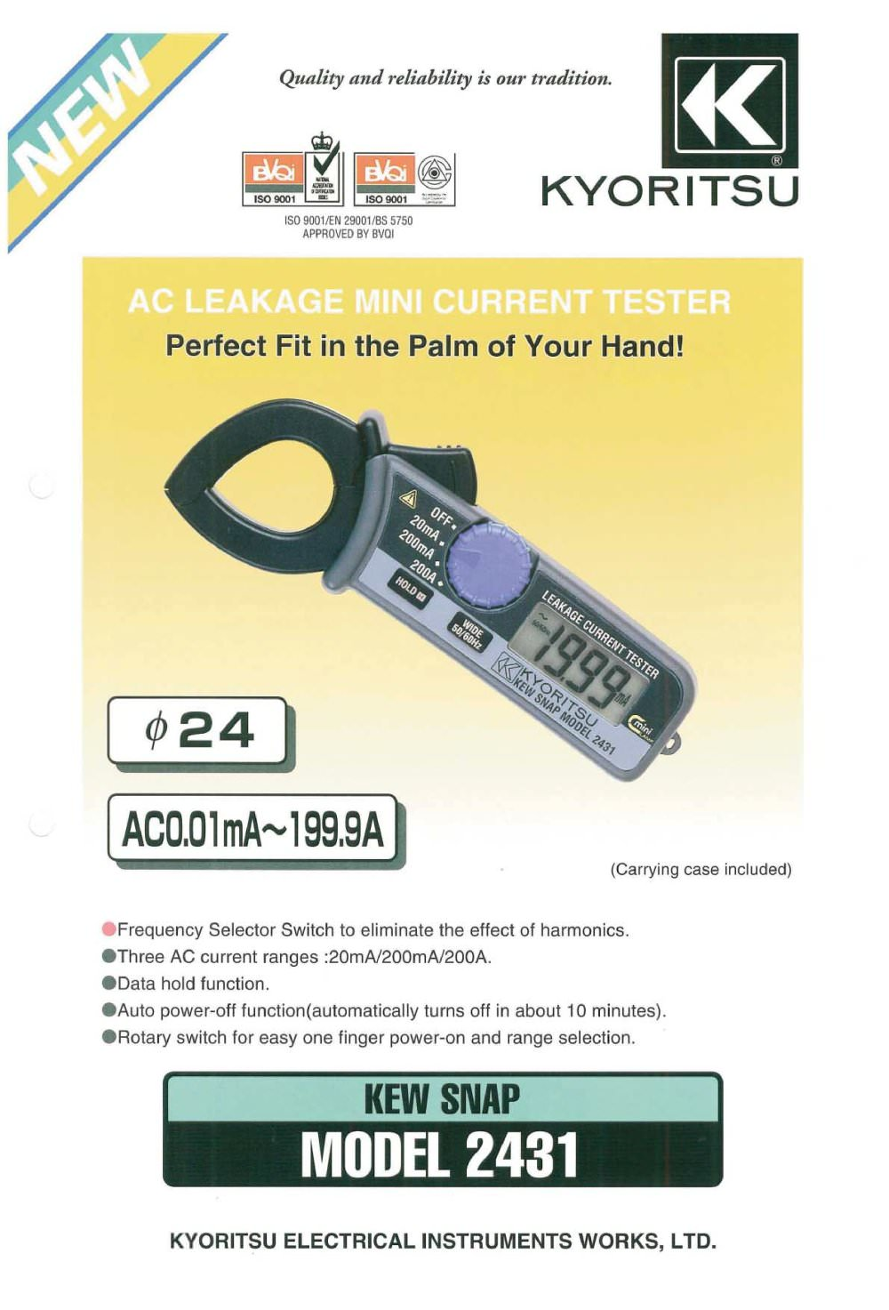 Leakage Clamp Meter Kyoritsu Pdf Catalogue Technical Digital Multimeter 1012 True Rms 1 2 Pages