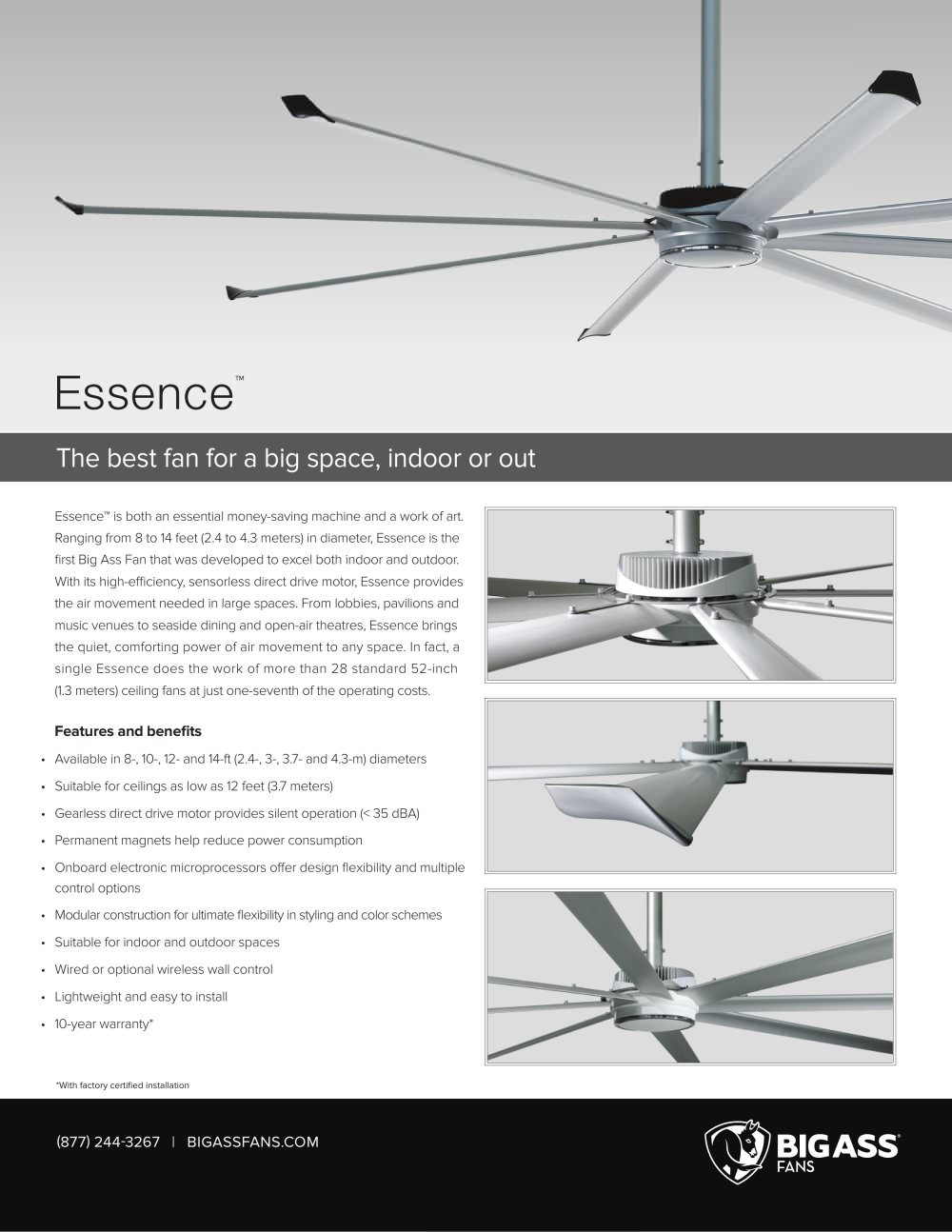 essence - big ass fan - pdf catalogue | technical documentation