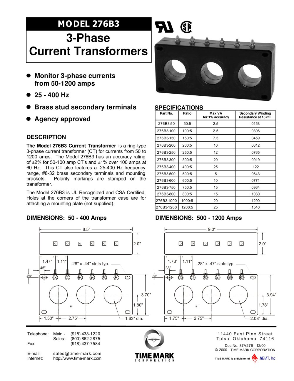 3 phase current transformer - Time Mark - PDF Catalogue | Technical
