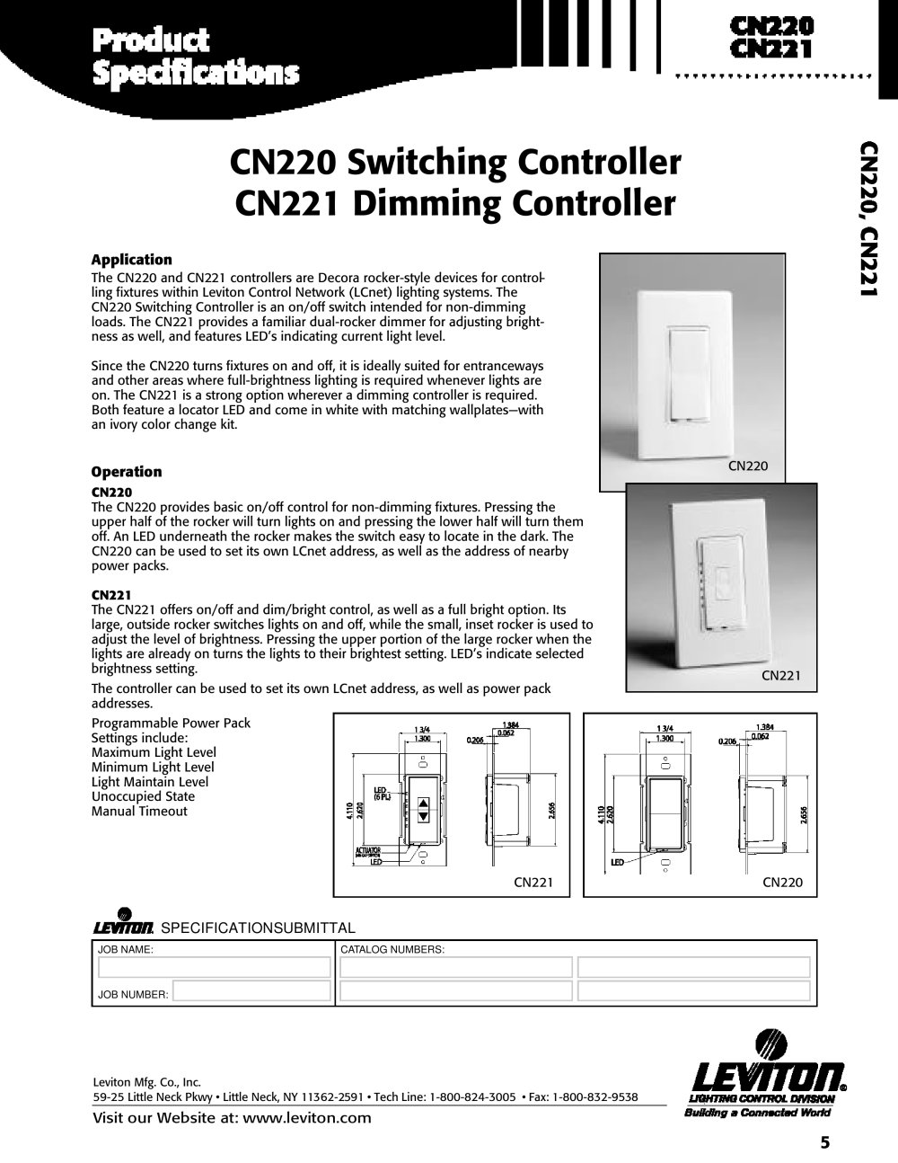 CN220 Switching Controller CN221 Dimming Controller - Leviton - PDF ...