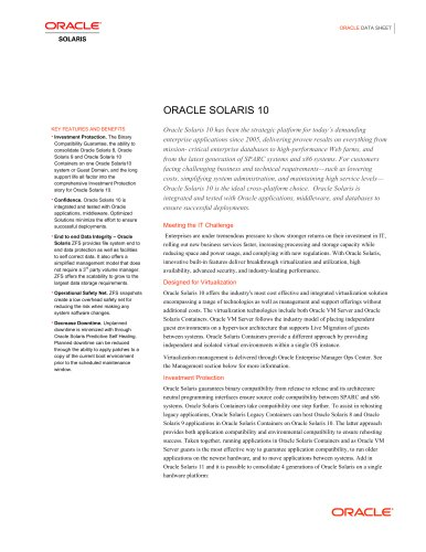 ORACLE SOLARIS 10 - Oracle - PDF Catalogs | Technical Documentation