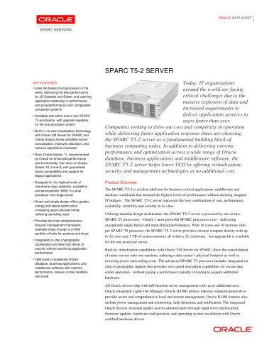 sparc-t5-2-ds-1922871 - Oracle - PDF Catalogs | Technical