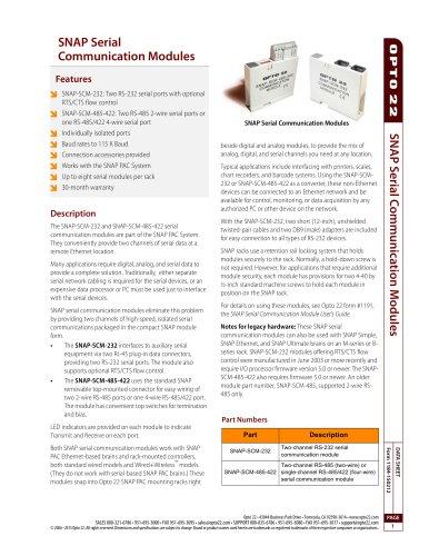 1184_SNAP - Opto 22 - PDF Catalogs | Technical Documentation