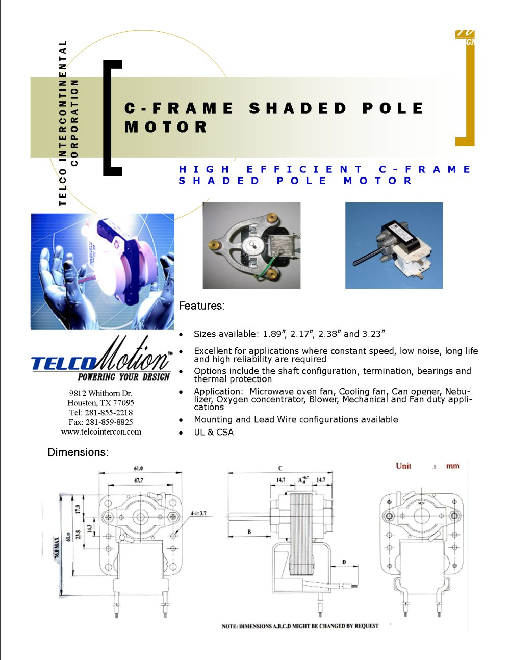 C-Frame Shaded Pole Motor - Telco - PDF Catalogue | Technical ...