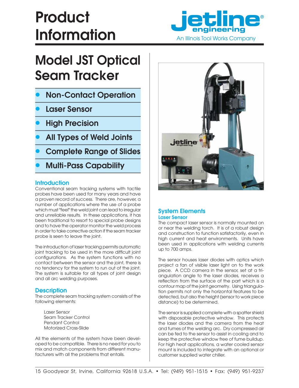 Jst Optical Laser Seam Tracker Jet Line Engineering Pdf Application Note Visiblelaser Driver Has Digitally Controlled Power 1 4 Pages