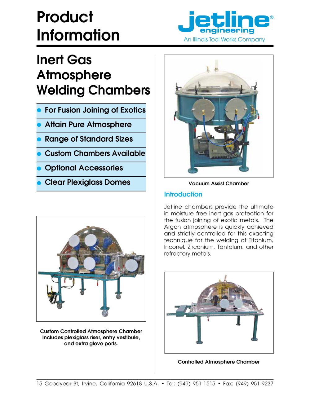 Welding Chambers Brochure - Jet Line Engineering - PDF Catalogue ...