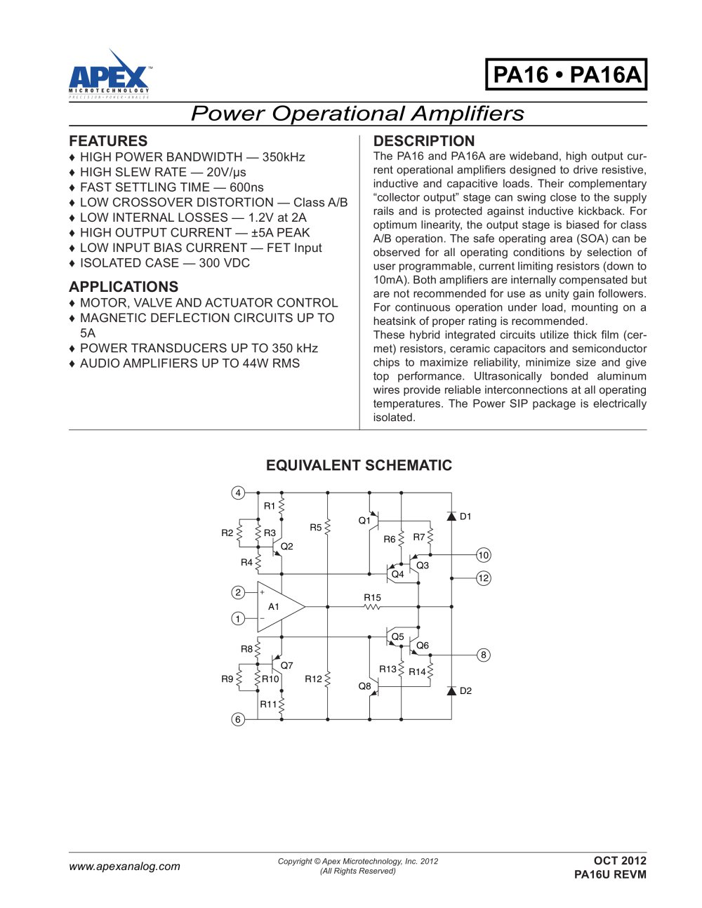350khz 5a 20v S Class A B Power Amplifier In Powersip Apex Ultra Precision Op Amps 1 7 Pages