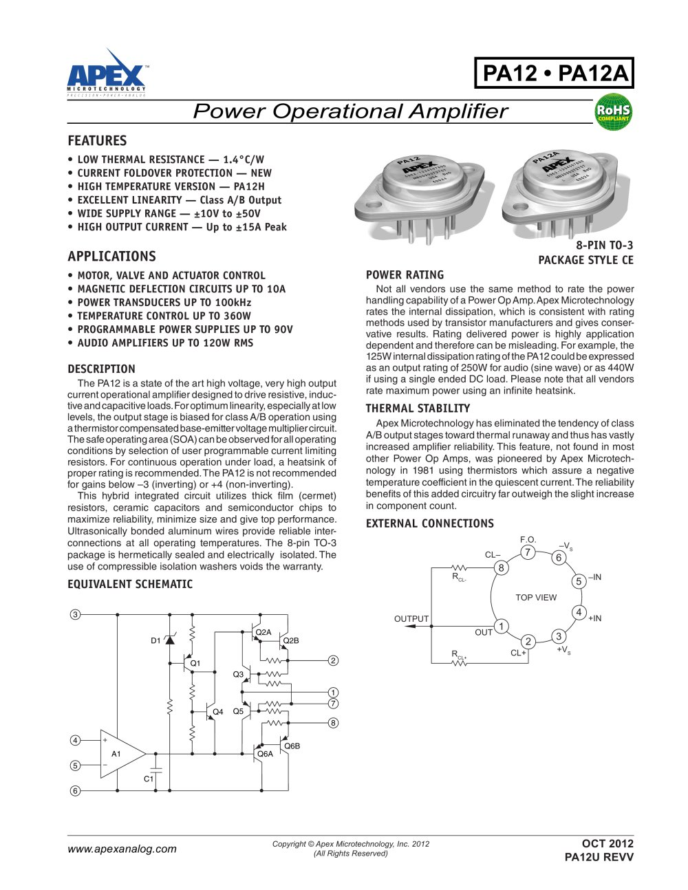 Class A B 15a 100v Power Amplifier Apex Precision Product Pdf 400w High Mosfet 1 5 Pages