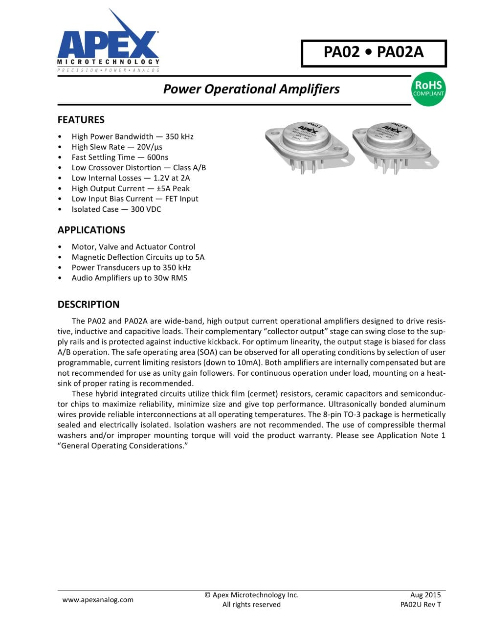 Pa02 Apex Precision Product Pdf Catalogue Technical 20v Ultra Op Amps 1 14 Pages
