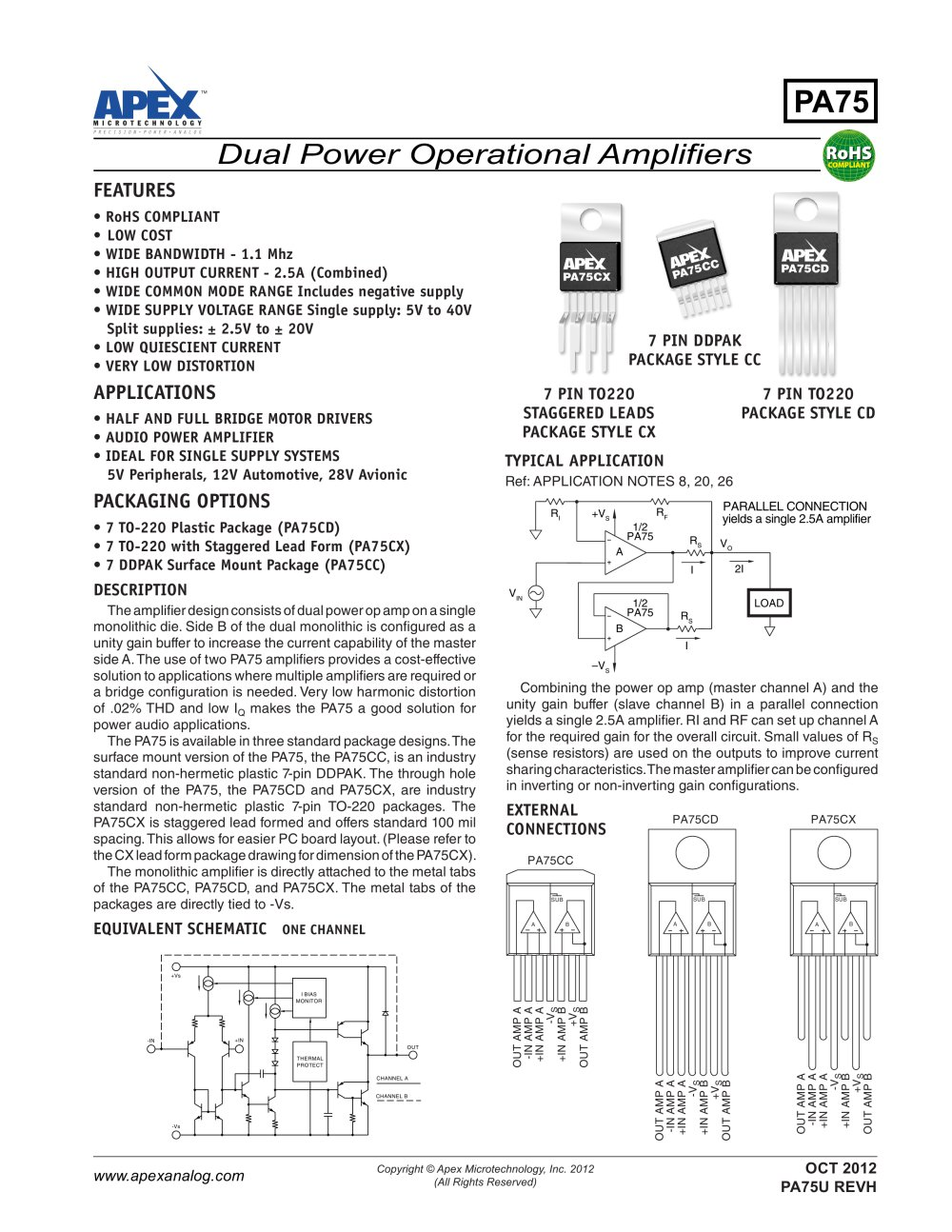 Pa75 Apex Precision Product Pdf Catalogue Technical Op Amp Single Power Supply 1 5 Pages