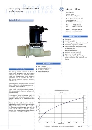 01.010.124 Direct acting solenoid valve, DN 10 media separated