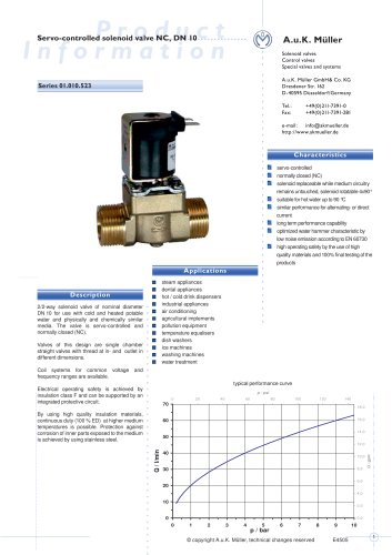 01.010.523 Servo-controlled solenoid valve NC, DN 10