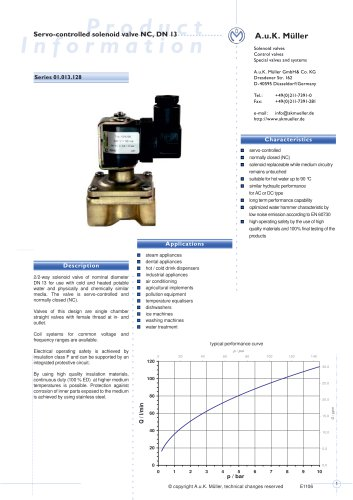 01.013.128 Servo-controlled solenoid valve NC, DN 13