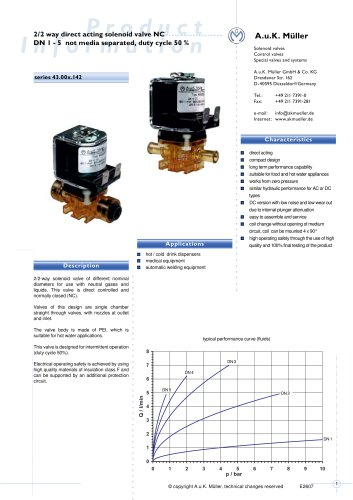 2/2 way direct acting solenoid valve NC