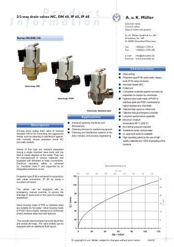 2/2-way drain valve NC, DN 40 IP 65, IP 68
