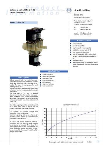 29.010.326 Solenoid valve NC, DN 10 three chambers