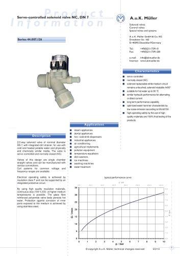 44.007.126 Servo-controlled solenoid valve NC, DN 7