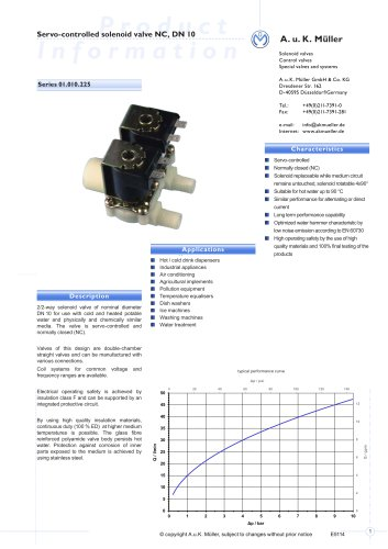 Series 01.010.225 Servo-controlled solenoid Valve NC, DN 10