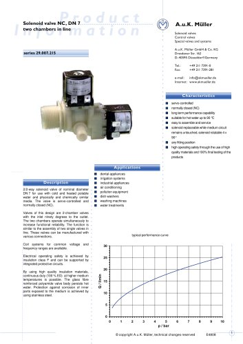 Solenoid valve NC, DN 7 two chambers in line